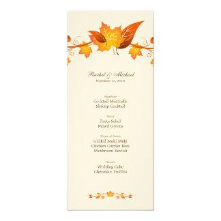 """Tarjeta del menú del boda del follaje del otoño invitación 4"""" x 9.25"""""""