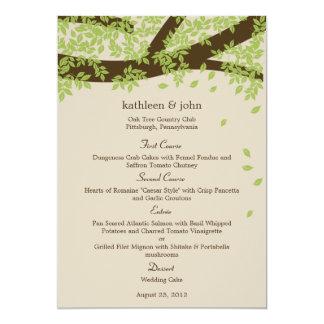 Tarjeta del menú del boda del roble invitaciones personalizada