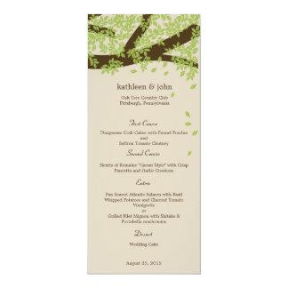"""Tarjeta del menú del boda del roble invitación 4"""" x 9.25"""""""