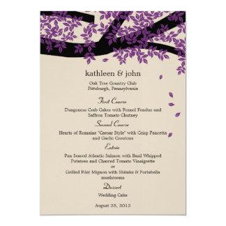"""Tarjeta del menú del boda del roble invitación 5"""" x 7"""""""