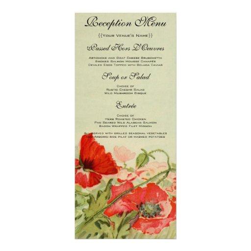 Tarjeta del menú del boda del vintage, flor roja lonas publicitarias