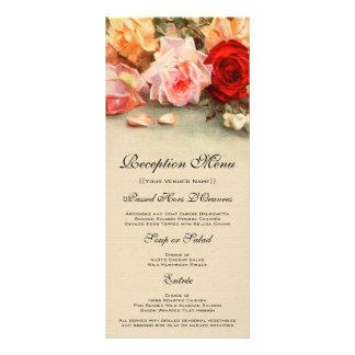 Tarjeta del menú del boda del vintage, flores lonas