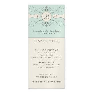 """Tarjeta del menú del boda del vintage invitación 4"""" x 9.25"""""""
