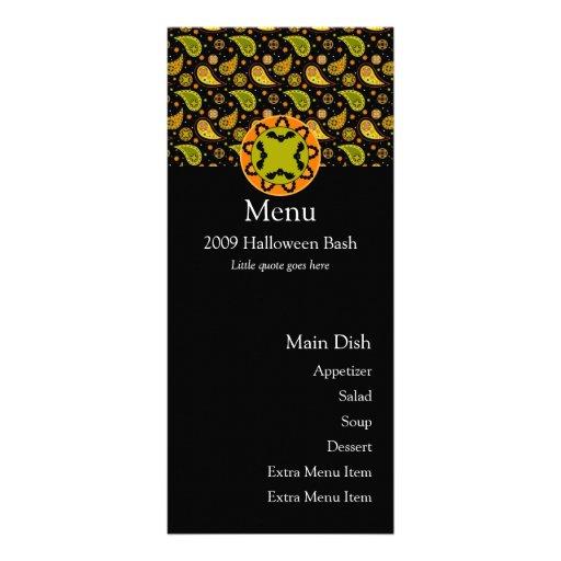 Tarjeta del menú del palo de Halloween Paisley Lonas Personalizadas