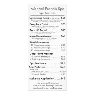 """Tarjeta del menú del precio folleto publicitario 4"""" x 9"""""""