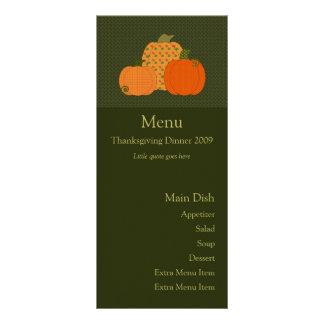 Tarjeta del menú del trío de la calabaza del tarjetas publicitarias a todo color