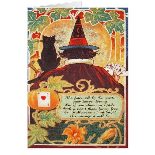 Tarjeta del mito de Halloween del vintage