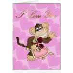 Tarjeta del mono del amor