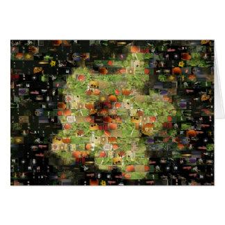 Tarjeta del mosaico de la flor del hibisco