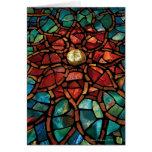 Tarjeta del mosaico del vitral buenas fiestas