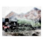 Tarjeta del motor del tren del vapor del vintage postal