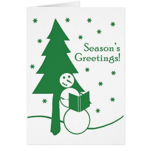 Tarjeta del muñeco de nieve de los saludos de la e