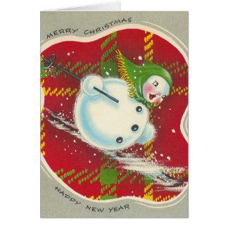 Tarjeta del muñeco de nieve del navidad del vintag