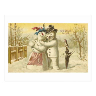Tarjeta del muñeco de nieve y de la mujer de Joyeu Postales