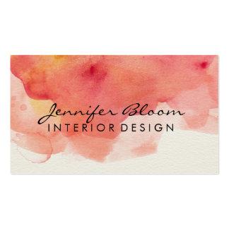 Tarjeta del naranja, rosada y roja de la acuarela tarjetas de visita