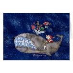Tarjeta del navidad de la ballena buenas fiestas