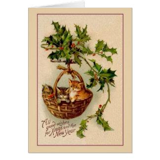Tarjeta del navidad de los gatitos del Victorian y
