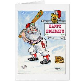 Tarjeta del navidad del béisbol de Santa buenas fi