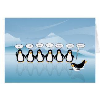 Tarjeta del navidad del pingüino del canto y del A