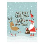 Tarjeta del navidad del saludo y del Año Nuevo Postales