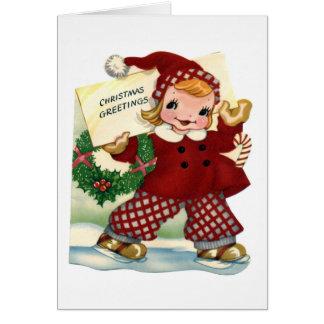 """Tarjeta """"del niño de los saludos retros del navida"""