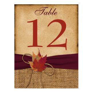 Tarjeta del número de la tabla de la arpillera de  tarjeta postal