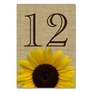 Tarjeta del número de la tabla de la arpillera del