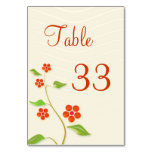 Tarjeta del número de la tabla de la flor