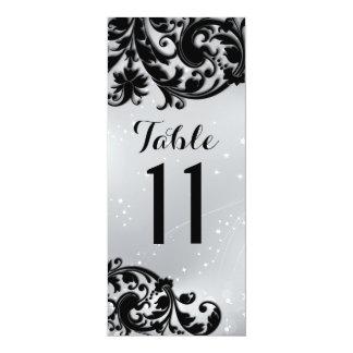 """Tarjeta del número de la tabla de la mascarada invitación 4"""" x 9.25"""""""