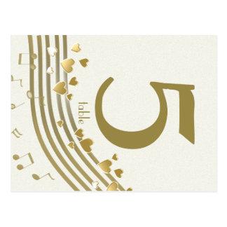 Tarjeta del número de la tabla de las canciones de tarjeta postal