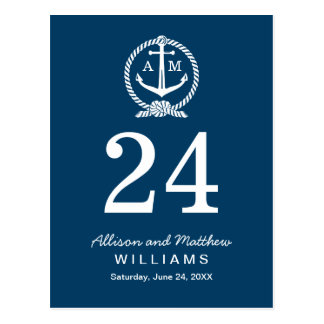 Tarjeta del número de la tabla de los azules marin postales