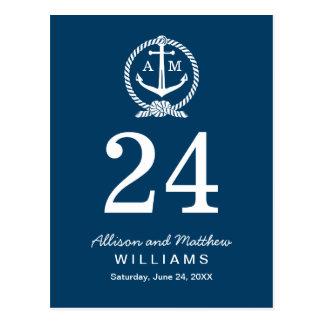 Tarjeta del número de la tabla de los azules tarjetas postales