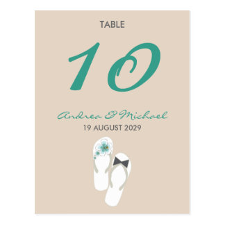 tarjeta del número de la tabla de los flips-flopes tarjetas postales