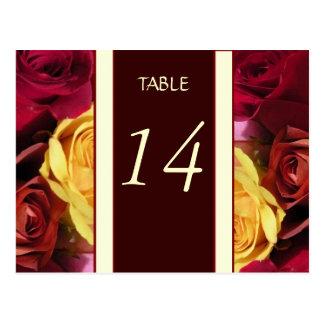 Tarjeta del número de la tabla de los rosas de la postal