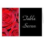 Tarjeta del número de la tabla de los rosas negros