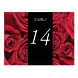 Tarjeta del número de la tabla de los rosas rojos postales