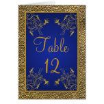 Tarjeta del número de la tabla del azul real y del
