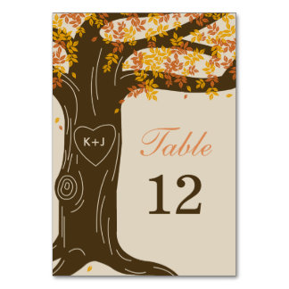 Tarjeta del número de la tabla del boda de la caíd