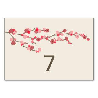 Tarjeta del número de la tabla del boda de la flor