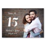 Tarjeta del número de la tabla del boda de la foto