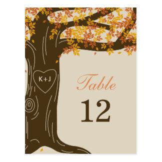 Tarjeta del número de la tabla del boda de la postal