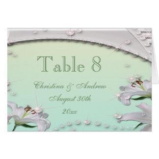 Tarjeta del número de la tabla del boda de la verd