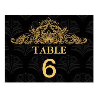 Tarjeta del número de la tabla del boda de tarjetas postales