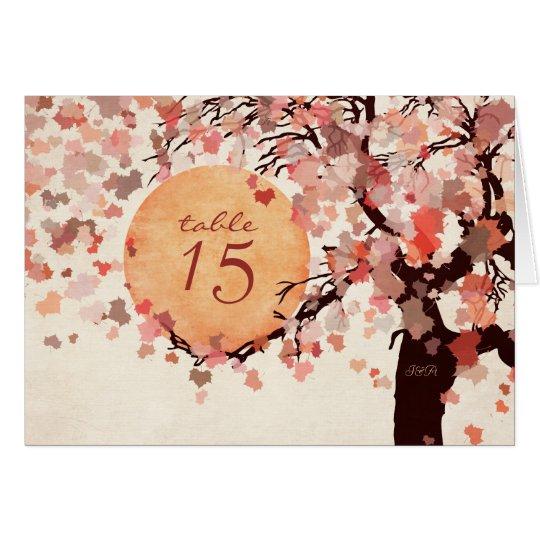 Tarjeta del número de la tabla del boda del árbol
