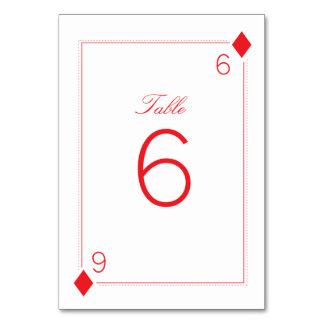 Tarjeta del número de la tabla del boda del casino