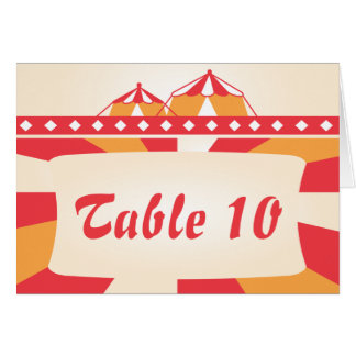 Tarjeta del número de la tabla del boda del circo