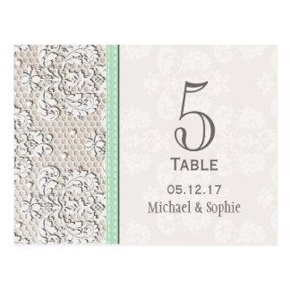 Tarjeta del número de la tabla del boda del cordón postal