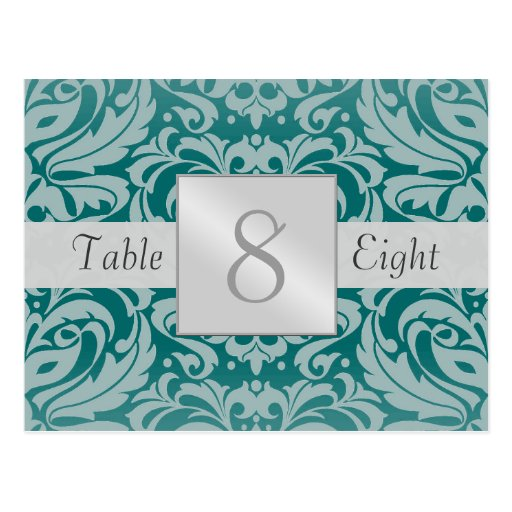 Tarjeta del número de la tabla del boda del damasc tarjeta postal