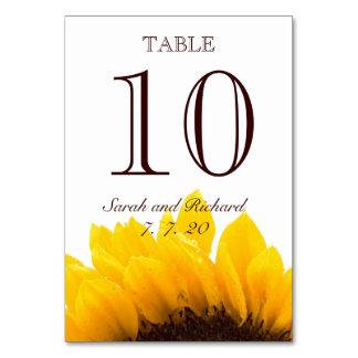 Tarjeta del número de la tabla del boda del giraso