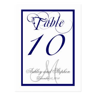 Tarjeta del número de la tabla del boda del monogr postal